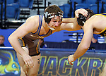BROOKINGS, SD - NOVEMBER 9:  Cody Pack from South Dakota State looks to control Austin Sommer from Drexel in their 157 pound match Saturday at Frost Arena. (Photo by Dave Eggen/Inertia)