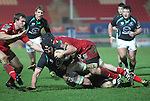 Mike Kearney is tackled just short of the try line..RaboDirect Pro12.Scarlets v Connacht.02.03.12.©STEVE POPE