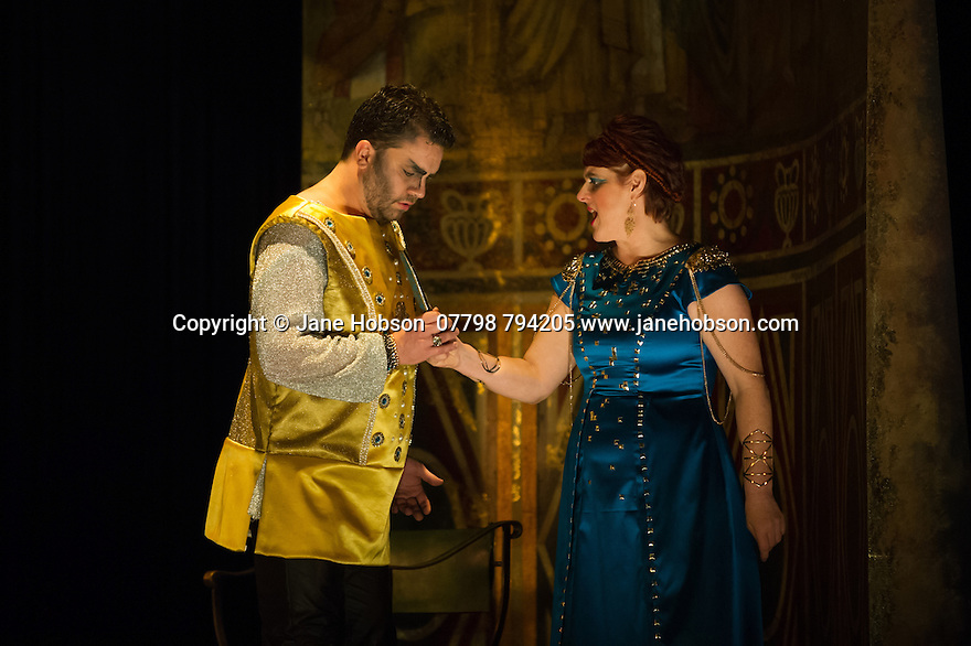 London, UK. 15.10.2014. English Touring Opera presents OTTONE, by George Frideric Handel, directed by James Conway, at the Hackney Empire. Picture shows:  Andrew Radley (Adelberto) and Gillian Webster (Gismonda). Photograph © Jane Hobson.