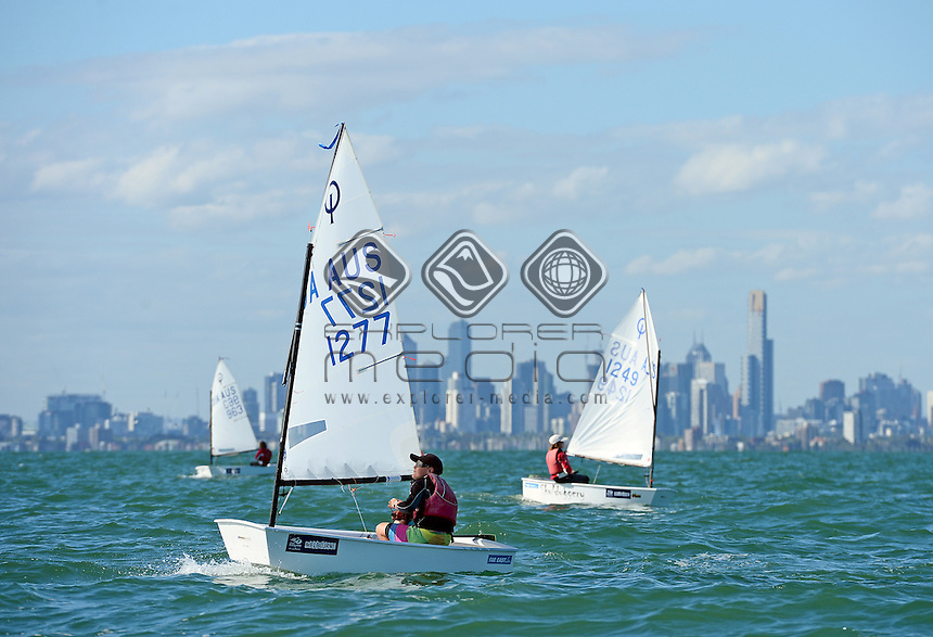 Optimist / Sam MAGAREY (AUS)<br /> 2013 ISAF Sailing World Cup - Melbourne<br /> Sail Melbourne - The Asia Pacific Regatta<br /> Sandringham Yacht Club, Victoria<br /> December 1st - 8th 2013<br /> &copy; Sport the library / Jeff Crow