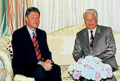 Governor Bill Clinton (Democrat of Arkansas), left, the presumptive aspirant for the 1992 Democratic Party nomination for President of the United States, meets President Boris Yeltsin of the Russian Federation, right, at the Blair House in Washington, DC on June 18, 1992.<br /> Credit: Consolidated News Photos