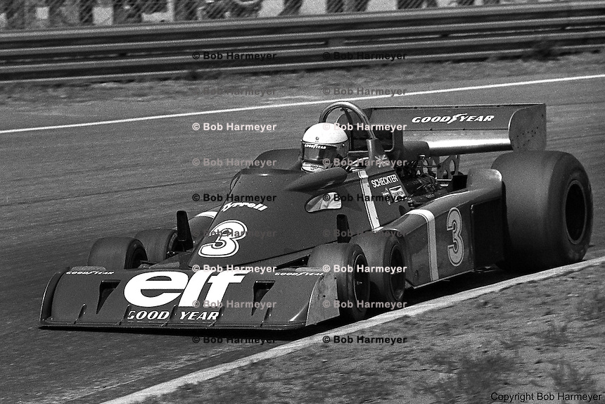 Jody Scheckter drives the Tyrrell P34 six-wheel Formula 1 car during the 1976 Grand Prix of Belgium at Zolder.