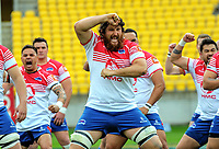 Ryan Shelford (centre) performs a haka before the Heartland Championship rugby match between Horowhenua Kapiti and Wairarapa Bush at Westpac Stadium in Wellington, New Zealand on Sunday, 1 October 2017. Photo: Dave Lintott / lintottphoto.co.nz