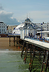 Looking back along Eastbourne Pier, East Sussex, England