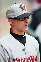 Wisconsin Timber Rattlers manager Matt Erickson (8) during a game against the Fort Wayne TinCaps on May 10, 2017 at Parkview Field in Fort Wayne, Indiana.  Fort Wayne defeated Wisconsin 3-2.  (Mike Janes/Four Seam Images)