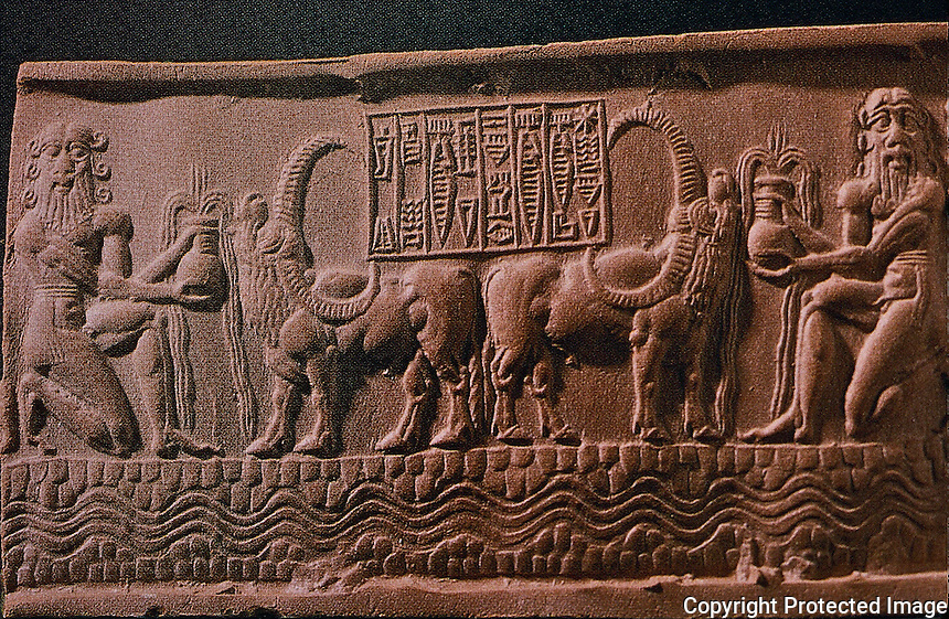 Mesopotamia:  Mesopotamian impression, seal of Shar-kali-sharri, 5th King of Agade, c. 2200 B.C.  Style unique to Addadian Art; cartouche supported by buffalos given water by heroes, acolytes of Er, whose emblem--the flowing vase--carries God of the waters.