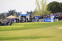 A large crowd around the 1st tee with Marc Warren (SCO) during Round 3 of the Open de Espana 2018 at Centro Nacional de Golf on Saturday 14th April 2018.<br /> Picture:  Thos Caffrey / www.golffile.ie<br /> <br /> All photo usage must carry mandatory copyright credit (&copy; Golffile | Thos Caffrey)