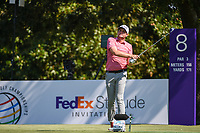Keegan Bradley (USA) watches his tee shot on 8 during round 4 of the WGC FedEx St. Jude Invitational, TPC Southwind, Memphis, Tennessee, USA. 7/28/2019.<br /> Picture Ken Murray / Golffile.ie<br /> <br /> All photo usage must carry mandatory copyright credit (© Golffile | Ken Murray)