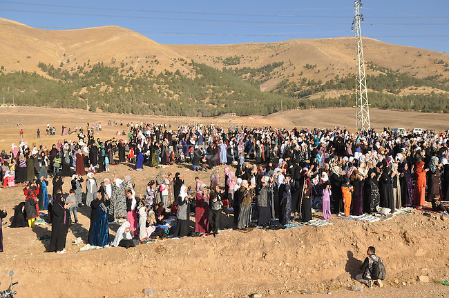 GOIZHA, IRAQ: Iraqi Kurds gather together to pray for rain...The current fall and winter have been extremely dry in northern Iraq.  A number of Islamic parties in the north of the country organized mass prayer gatherings to combat the coming drought...Photo by Aram Karim/Metrography
