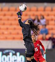 HOUSTON, TX - FEBRUARY 3: Sasha Fabrega #12 of Panama misses a save during a game between Panama and Haiti at BBVA Stadium on February 3, 2020 in Houston, Texas.