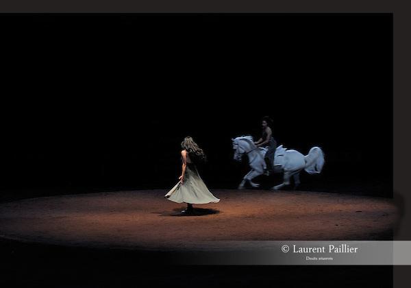 We were horses<br /> Chorégraphie : Carolyn Carlson, Bartabas<br /> Sara Orselli<br /> Ecuyers de l'Académie du spectacle équestre de Versailles<br /> Friche industrielle Plastic Omnium, Bruay-la-Buissière – 2011