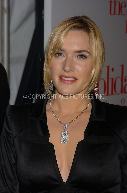 WWW.ACEPIXS.COM . . . . .  ....November 29, 2006, New York City. ....Kate Winslet attends the Premiere of 'The Holiday'. ....Please byline: AJ Sokalner - ACEPIXS.COM..... *** ***..Ace Pictures, Inc:  ..(212) 243-8787 or (646) 769 0430..e-mail: info@acepixs.com..web: http://www.acepixs.com