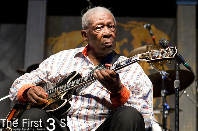 B.B. King performs during the New Orleans Jazz & Heritage Festival in New Orleans, LA.