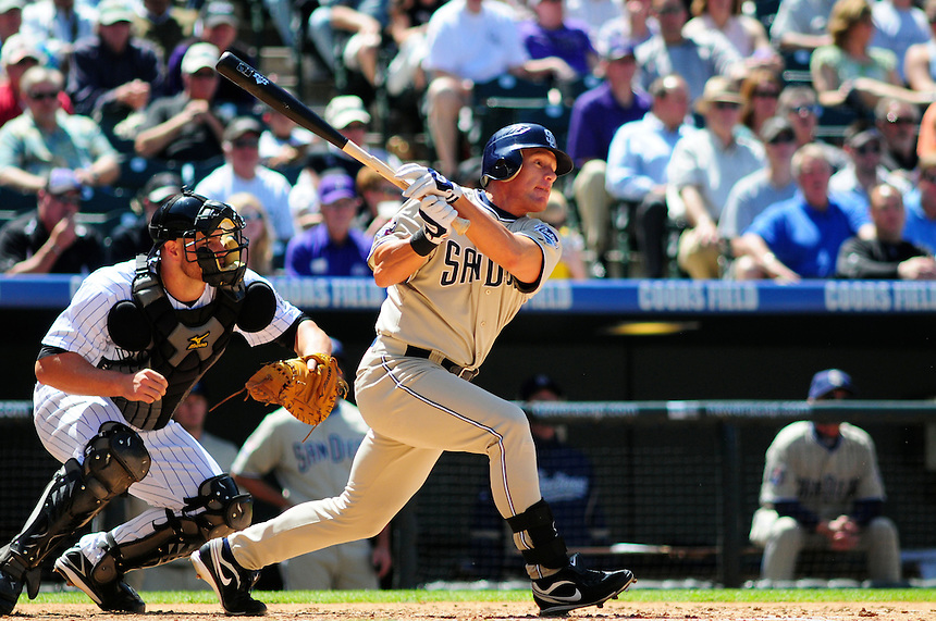 April 29, 2009: Padres outfielder Brian Giles and Rockies catcher Chris Iannetta during a game between the San Diego Padres and the Colorado Rockies at Coors Field in Denver, Colorado. The Rockies beat the Padres 7-5.