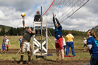Amos Walkington from Sandpoint, ID at the 2011 Mud Volleyball Tournament in Laclede, ID sponsored by the Kodiak Bar. .(©Matt Mills McKnight/2011)