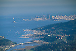 Overlooking the city and San Francisco Bay from atop Mount Tamalpais, Marin County, California