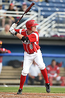 Batavia Muckdogs second baseman Brian Anderson (8) at bat during a game against the Auburn Doubledays on June 16, 2014 at Dwyer Stadium in Batavia, New York.  Batavia defeated Auburn 4-3.  (Mike Janes/Four Seam Images)