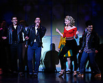 Ace Young, Derek Keeling & Ashley Spencer during the bows for Olivia Newton-John is headed back to Rydell High to promote Breast Cancer Awareness after the Curtain Call for GREASE at the Brooks Atkinsoon Yheatre in New York City. <br />