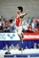 Li Ning of China performs on floor exercise at 1985 World Championships in men's artistic gymnastics at Montreal, Canada in mid-November, 1985.  Photo by Tom Theobald.