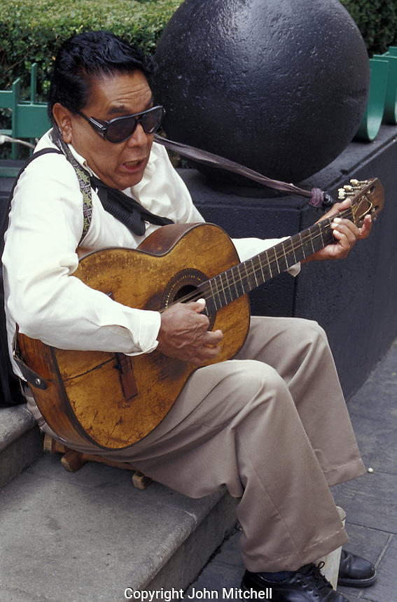 Blind street musician in the Centro Historico, Mexico City