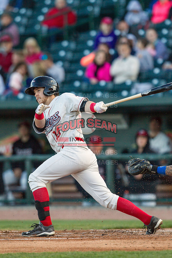Great Lakes Loons second baseman Nick Dean (10) follows through on his swing against the South Bend Cubs on May 18, 2016 at Dow Diamond in Midland, Michigan. Great Lakes defeated South Bend 5-4. (Andrew Woolley/Four Seam Images)