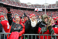 Fans cheer as quarterback Braxton Miller is introduced to speak during the Ohio State Football National Championship Celebration at Ohio Stadium, Saturday morning, January 24, 2015. More than 40 thousand fans packed the lower stands in the stadium to celebrate the National Championship win with the football team. (The Columbus Dispatch / Eamon Queeney)
