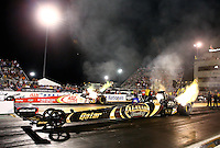Sep 27, 2013; Madison, IL, USA; NHRA top fuel dragster driver Khalid Albalooshi during qualifying for the Midwest Nationals at Gateway Motorsports Park. Mandatory Credit: Mark J. Rebilas-