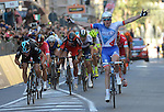Arnaud Demare (FRA) FDJ outsprints Ben Swift (GBR) Team Sky and Jurgen Roelandts (BEL) Lotto-Soudal to win the 2016 Milan-San Remo race, running 293km from Milan and finishing on the Via Roma, San Remo, Italy. 19th March 2016.<br /> Picture: ANSA/Luca Zennaro | Newsfile<br /> <br /> <br /> All photos usage must carry mandatory copyright credit (© Newsfile | Luca Zennaro)