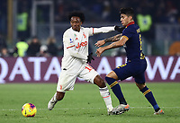12th January 2020; Stadio Olympico, Rome, Italy; Italian Serie A Football, Roma versus Juventus; Juan Cuadrano of Juventus holds off Diego Perotti of AS Roma - Editorial Use