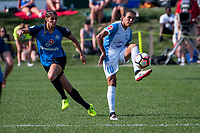 Kansas City, MO - Wednesday August 16, 2017: Brittany Taylor, Marta Vieira Da Silva during a regular season National Women's Soccer League (NWSL) match between FC Kansas City and the Orlando Pride at Children's Mercy Victory Field.
