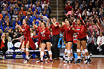 KANSAS CITY, MO - DECEMBER 16: The University of Nebraska bench cheers after a point during the Division I Women's Volleyball Championship held at Sprint Center on December 16, 2017 in Kansas City, Missouri. (Photo by Jamie Schwaberow/NCAA Photos via Getty Images)
