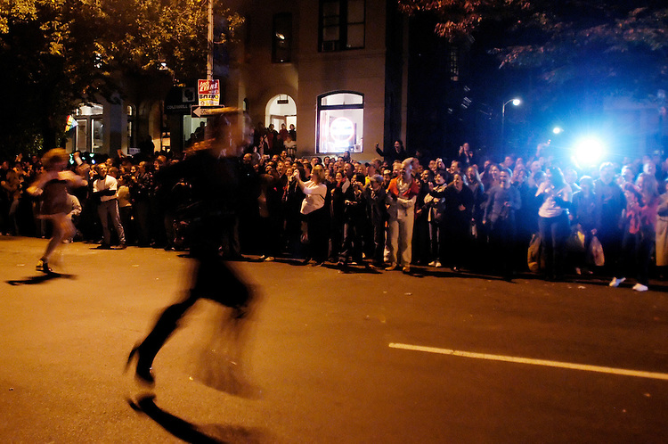 The crowd watches the annual Halloween High Heel Race on 17th St. in Dupont Circle. The race, where men dress up in drag, is only three blocks long, but involves fashion show-like diplays much of the night.