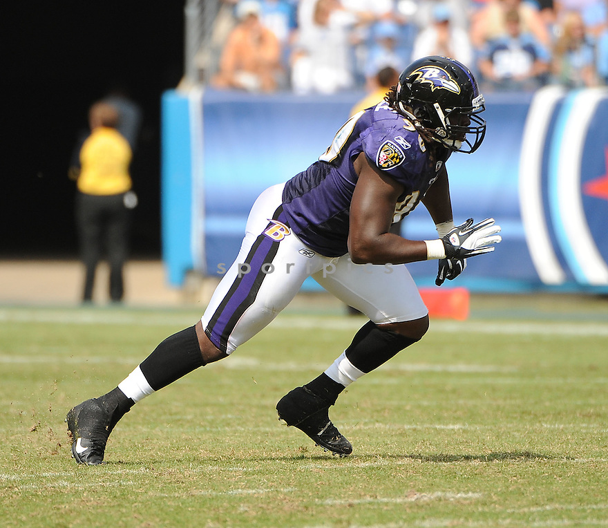 PERNELL MCPHEE, of the Baltimore Ravens, in action, during the Ravens game against the Tennessee Titans on September 18, 2011 at LP Field in Nashville, TN. The Titans beat the Ravens 26-13.
