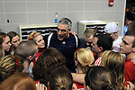 26 MAR 2011: Denison coach Gregg Parini talks to the Men's and Women's swimming and diving teams during the Division III Menís and Womenís Swimming and Diving Championship held at Allan Jones Aquatic Center in Knoxville, TN. The Denison men's team won the national title and the women's team finished in second. David Weinhold/NCAA Photos