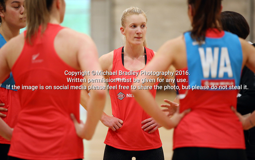 24.08.2016 Silver Ferns Shannon Francois in action during the Silver Ferns Training in Auckland. Mandatory Photo Credit ©Michael Bradley.