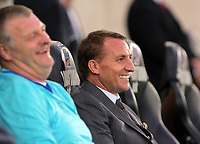 Swansea Legends manager Brendan Rodgers in the dug out during the Swansea Legends v Manchester United Legends at The Liberty Stadium, Swansea, Wales, UK. Wednesday 09 August 2017