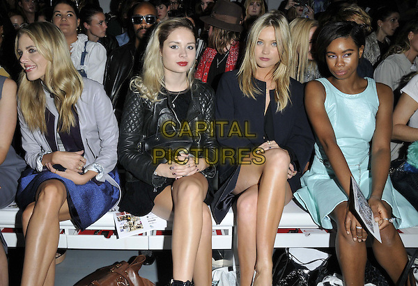 LONDON, ENGLAND - SEPTEMBER 12: Donna Air, Nina Nesbitt, Laura Whitmore &amp; Tolula Adeyemi attend the Felder Felder S/S15 catwalk show, LFW Day 1, BFC Showspace, Somerset House  the Strand, on Friday September 12, 2014 in London, England, UK. <br /> CAP/CAN<br /> &copy;Can Nguyen/Capital Pictures