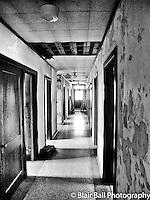 Vicksburg abandoned building hallway in a school downtown Vicksburg Mississippi.