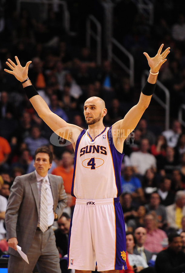 Mar. 2, 2012; Phoenix, AZ, USA; Phoenix Suns center Marcin Gortat reacts during game against the Los Angeles Clippers at the US Airways Center. The Suns defeated the Clippers 81-78. Mandatory Credit: Mark J. Rebilas-USA TODAY Sports