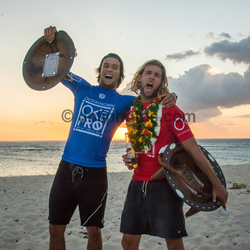 NAMOTU, Fiji (Wednesday, June 14, 2017) Matt Wilkinson (AUS) and Connor O'Leary (AUS). - The Outerknown Fiji Pro, Stop No. 5 on the 2017 World Surf League (WSL) Championship Tour (CT), was completed today with Matt Wilkinson (AUS) defeating tour rookie Connor O'Leary (AUS) in the 40 minute final. Conditions at Cloudbreak this morning. were near perfect with sets in the 6'-8' range and light winds. With his win today Wilkinson jumps to the top of the world tour rankings after all of the top seeds were eliminated early in the event.<br />  Location:      Tavarua/Namotu, Fiji<br /> Event window:   June 4 - 16, 2017<br /> Today's call:<br />  Finals <br /> Conditions:         5 - 7 foot 1.5 - 2 metre)<br /> <br /> Photo: joliphotos.com