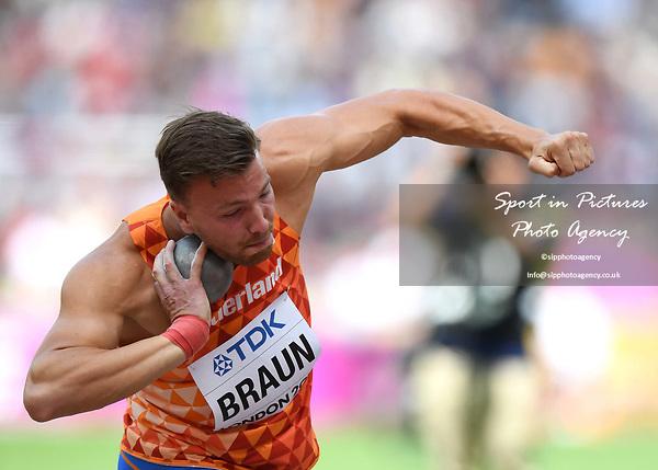 PieterBRAUN (NED) in the mens decathlon shot put. IAAF world athletics championships. London Olympic stadium. Queen Elizabeth Olympic park. Stratford. London. UK. 11/08/2017. ~ MANDATORY CREDIT Garry Bowden/SIPPA - NO UNAUTHORISED USE - +44 7837 394578