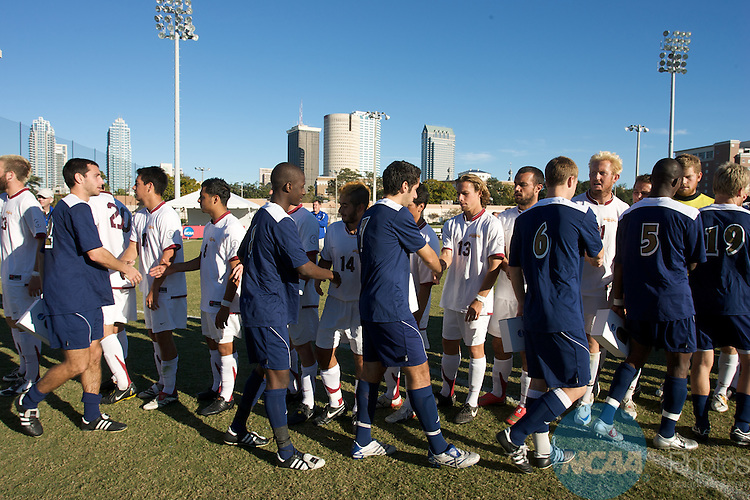 07 DEC 2008:  CSU- Dominguez Hills takes on Dowling College during the Division II Men's Soccer Championship held at Pepin/Rood Stadium on the University of Tampa campus in Tampa, FL. CSU- Dominguez Hills defeated Dowling 3-0 for the national title.  Chris Livingston/NCAA Photos