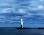 The Frankfort North Breakwater Lighthouse On A Stormy Morning,Michigan, USA