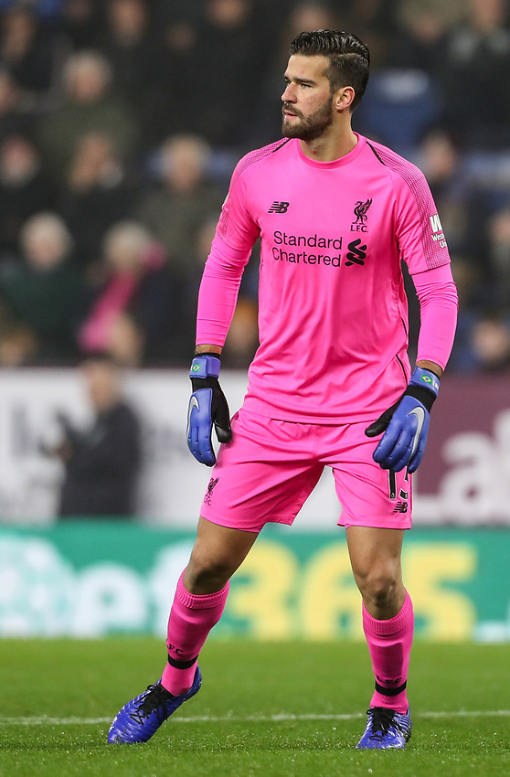 Liverpool's goalkeeper  Alisson Becker <br /> <br /> Photographer Andrew Kears/CameraSport<br /> <br /> The Premier League - Burnley v Liverpool - Wednesday 5th December 2018 - Turf Moor - Burnley<br /> <br /> World Copyright © 2018 CameraSport. All rights reserved. 43 Linden Ave. Countesthorpe. Leicester. England. LE8 5PG - Tel: +44 (0) 116 277 4147 - admin@camerasport.com - www.camerasport.com