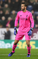 Liverpool's goalkeeper  Alisson Becker <br /> <br /> Photographer Andrew Kears/CameraSport<br /> <br /> The Premier League - Burnley v Liverpool - Wednesday 5th December 2018 - Turf Moor - Burnley<br /> <br /> World Copyright &copy; 2018 CameraSport. All rights reserved. 43 Linden Ave. Countesthorpe. Leicester. England. LE8 5PG - Tel: +44 (0) 116 277 4147 - admin@camerasport.com - www.camerasport.com