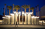 Artist Chris Burden installation titled Urban Light at LACMA