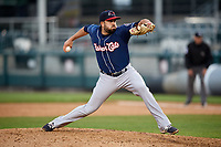 New Hampshire Fisher Cats relief pitcher Dusty Isaacs (24) delivers a pitch during the second game of a doubleheader against the Harrisburg Senators on May 13, 2018 at FNB Field in Harrisburg, Pennsylvania.  Harrisburg defeated New Hampshire 2-1.  (Mike Janes/Four Seam Images)