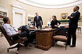 United States President Barack Obama talks with senior advisors in the Oval Office, February 11, 2013. Pictured, from left, are: Chief of Staff Denis McDonough; Alyssa Mastromonaco, Deputy Chief of Staff for Operations; and Rob Nabors, Deputy White House Chief of Staff for Policy. .Mandatory Credit: Pete Souza - White House via CNP