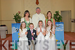Pupils of Lyrecrompane national school who received their first holy communion in the church of the sacred heart, Lyrecrompane on Sunday were Eilish O'Regan, Eo?in Buckley, Aisling Keane, Karen Moloney, with Ms. Dillion, Fr. Pat Moore and Mrs. O'Connor..   Copyright Kerry's Eye 2008