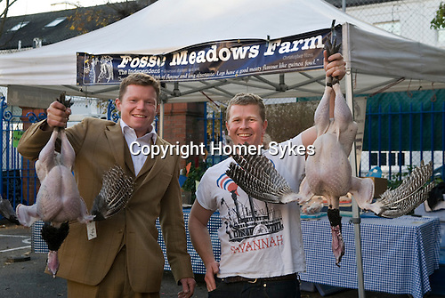 Jacob and Nick, Fosse Meadows Farm, at Queens Park famers market Nov 2012.